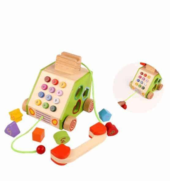 telefon din lemn jucarie de tras2