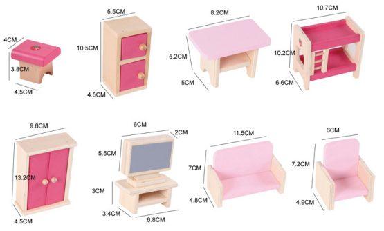 casuta papusi din lemn cu mobilier roz3