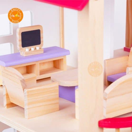 casuta papusi din lemn cu mobilier roz9