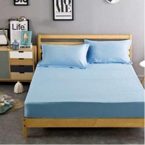 husa de pat albastru