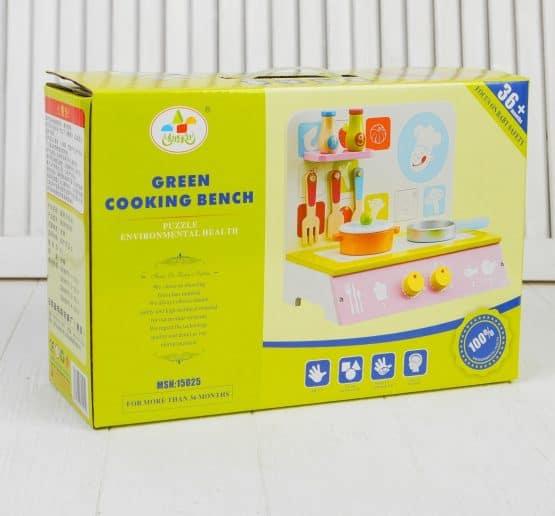 mini bucatarie de jucarie lemn cu accesorii green cooking5