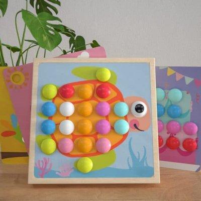 joc mozaic lemn cu butoni