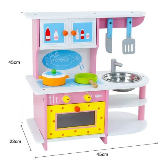 bucatarie jucarie din lemn copii pink stove4