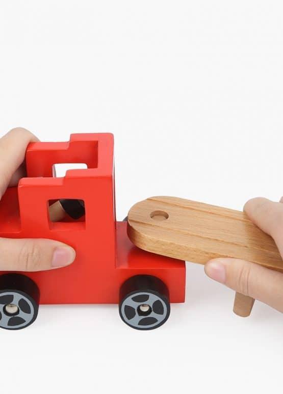 camion jucarie lemn cu platforma si masinute topbright3