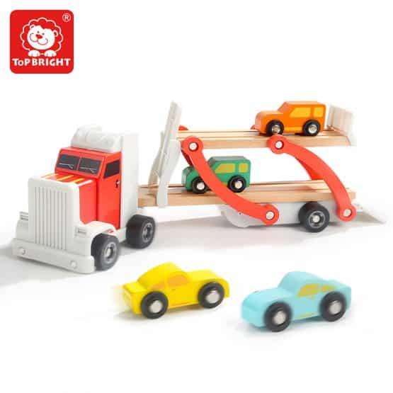 camion jucarie lemn cu platforma si masinute topbright4