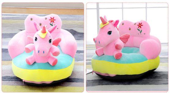 fotoliu bebe din plus cu spatar unicorn roz2