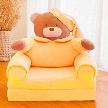 fotoliu din plus extensibil teddy galben
