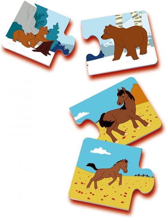 set puzzle din doua piese carton mama si puiul2