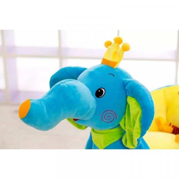 balansoar muzical copii tip sanie elefant albastru 2