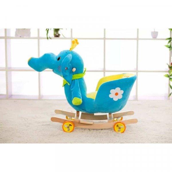 balansoar muzical copii tip sanie elefant albastru 4