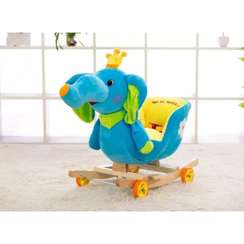 Balansoar Copii Tip Sanie Cu Muzica Elefant Albastru Allmati Shop
