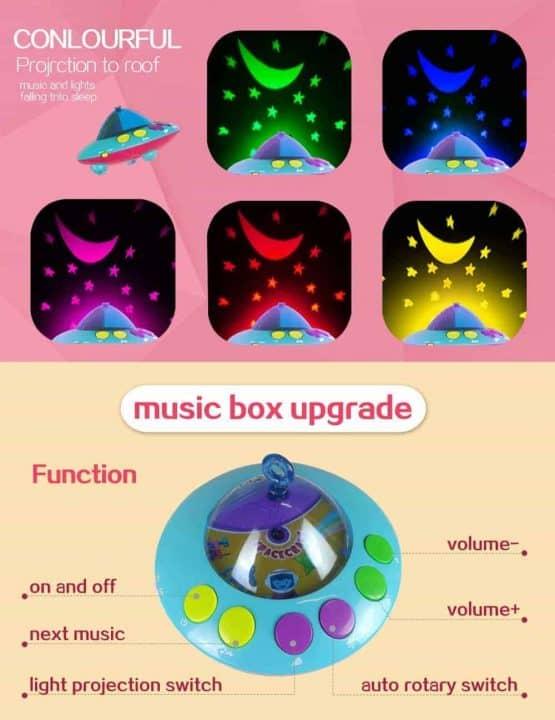 carusel muzical cu proiectii 108 melodii telecomanda2