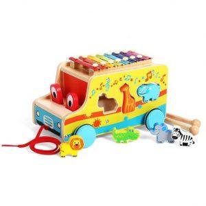 camion din lemn cu xilofon