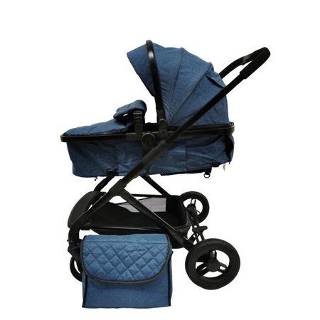 carucior bebe 2in1 cu landou reversibil albastru 2