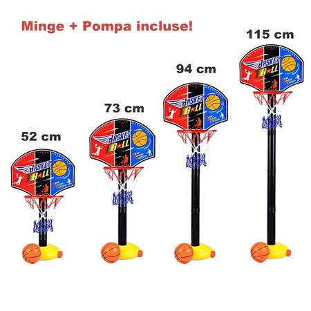 cos de baschet copii cu minge si pompa 4
