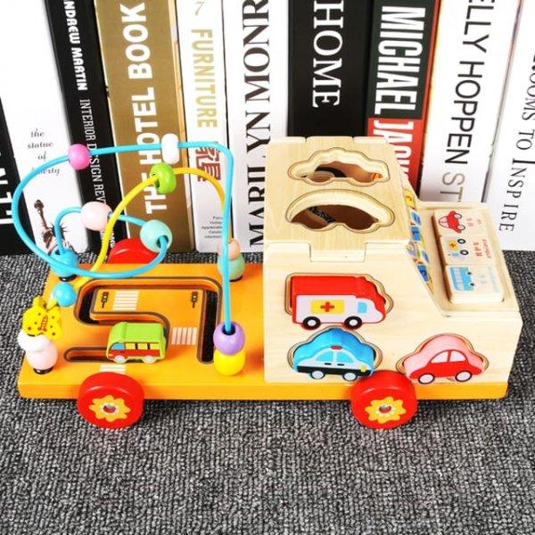 camion de jucarie din lemn spirale