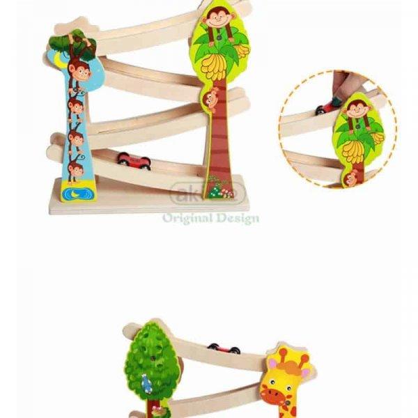circuit din lemn cu masinute maimutica 2