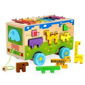 masinuta lemn cu xilofon