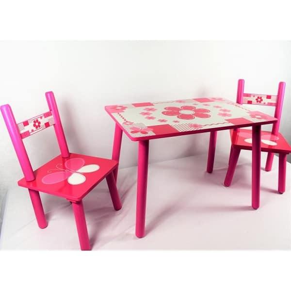 masuta copii din lemn cu doua scaunele 2
