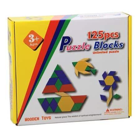 puzzle tangram din lemn 125 piese 1