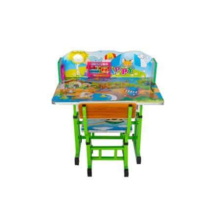 set birou cu scaun copii model elefant verde 3