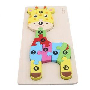 puzzle din lemn numerotat girafa