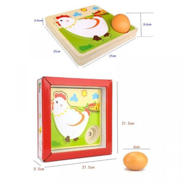 puzzle educativ din lemn gaina 3