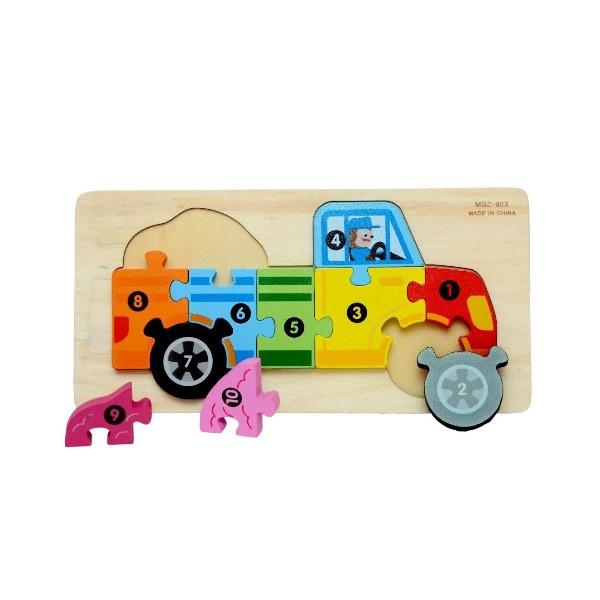 puzzle lemn numerotat camion 1