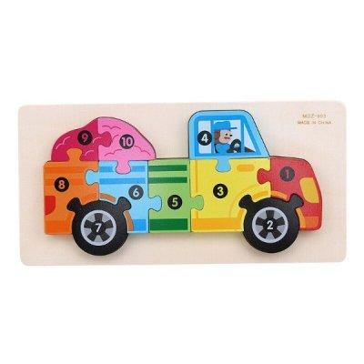 puzzle din lemn numerotat camion
