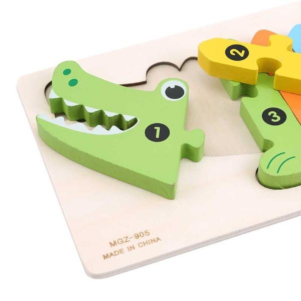 puzzle lemn numerotat crocodil 2
