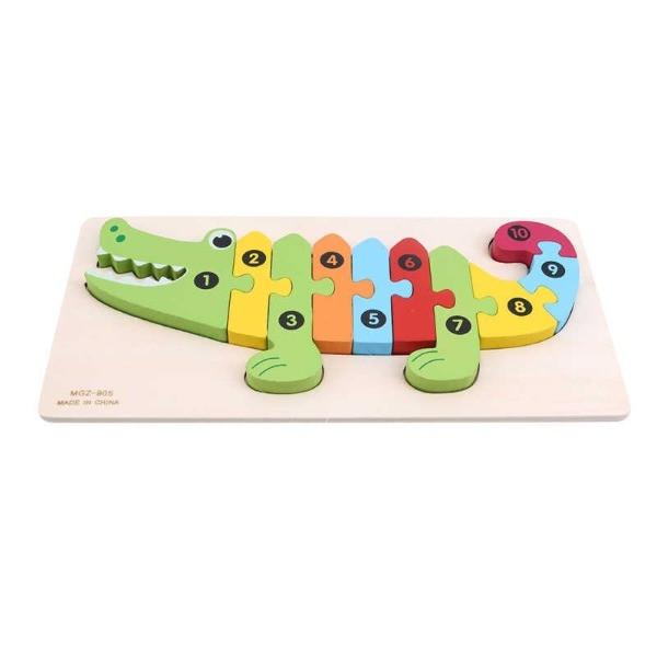 puzzle lemn numerotat crocodil 3