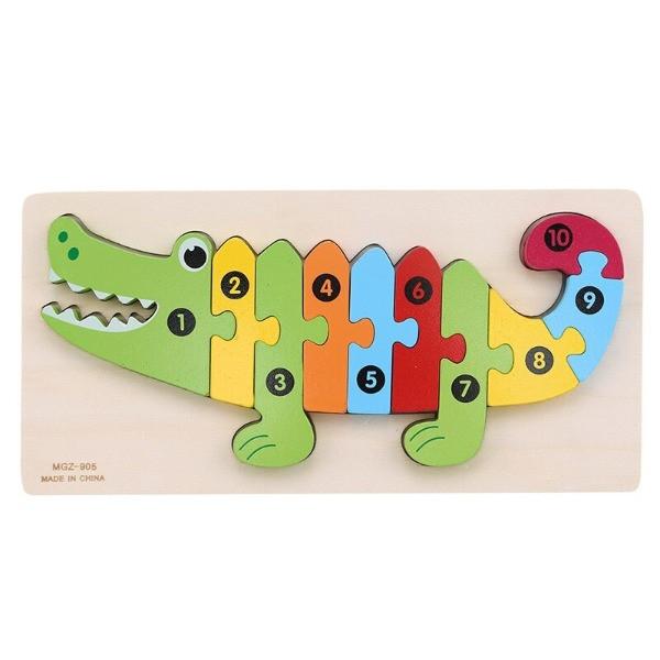 puzzle lemn numerotat crocodil