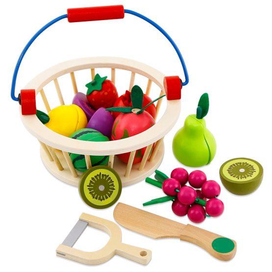 cosulet cu fructe din lemn