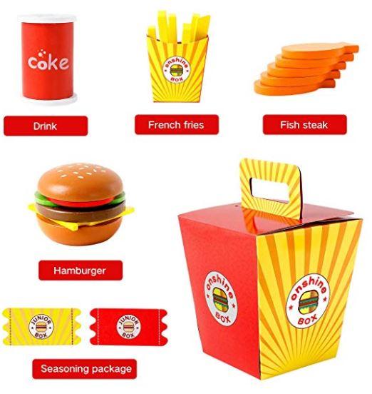 jucarie fast food hamburger din lemn 3