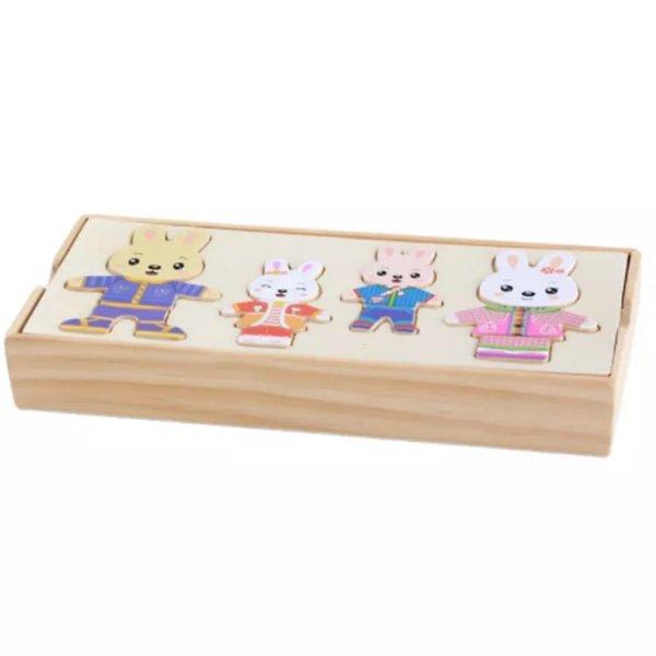 puzzle incastru din lemn imbraca iepurasii2