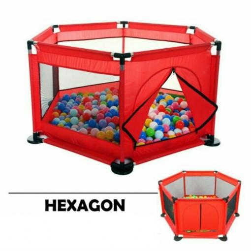 tarc de joaca bebe hexagon rosu