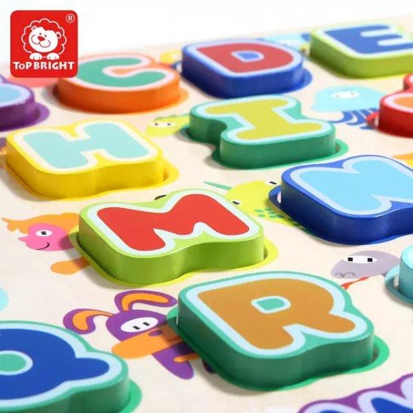 puzzle din lemn alfabet si animalute