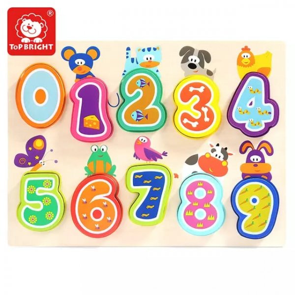 puzzle din lemn cifre si animalute