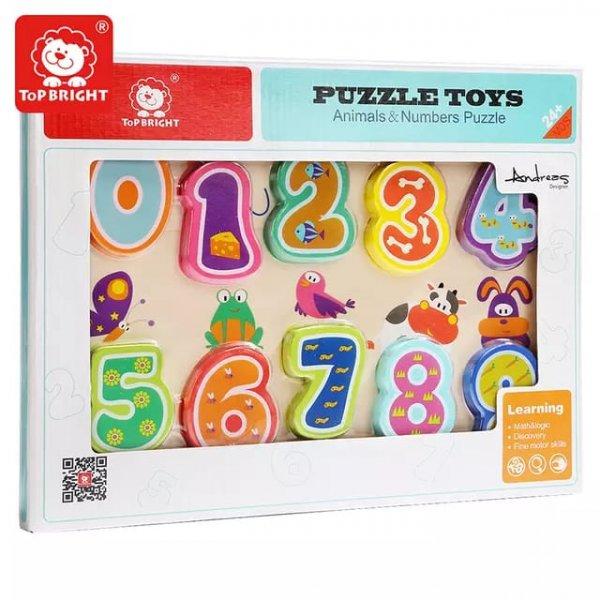 puzzle din lemn cifre si animalute 4