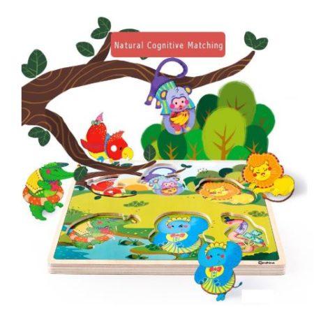 puzzle din lemn cu sunete animale salbatice