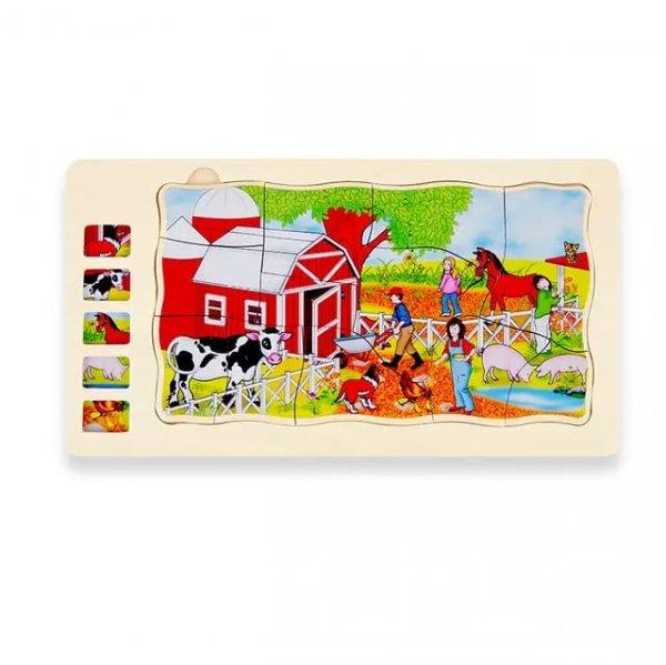 puzzle din lemn viata la ferma