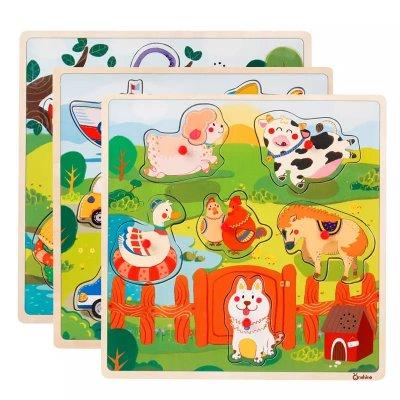 puzzle lemn animale domestice
