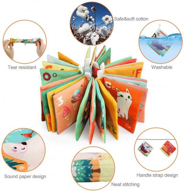 set 6 carti textile de baie educative bebelusi melody3