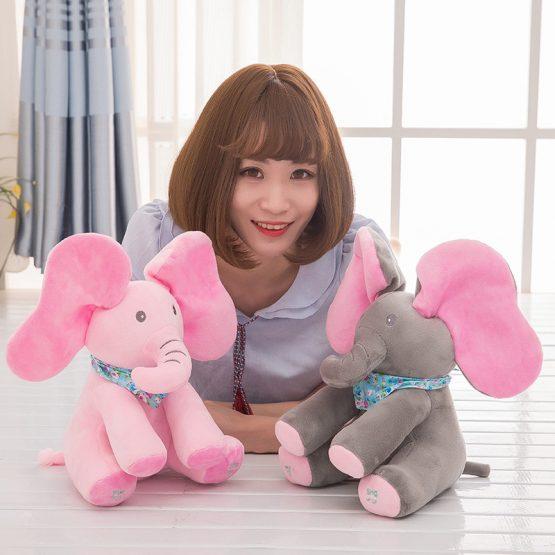 elefant interactiv din plush cucu bau roz 2