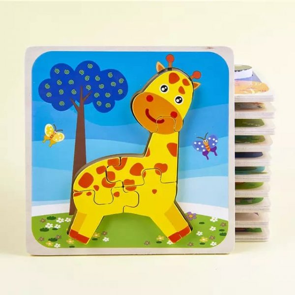 puzzle multicolor din lemn animalute 1
