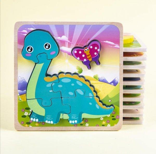 puzzle multicolor din lemn animalute 3