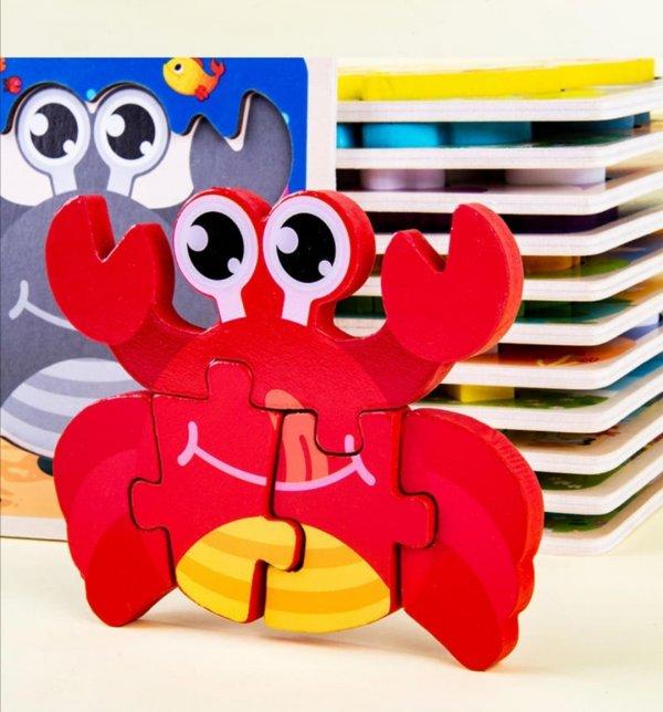 puzzle multicolor din lemn animalute 5