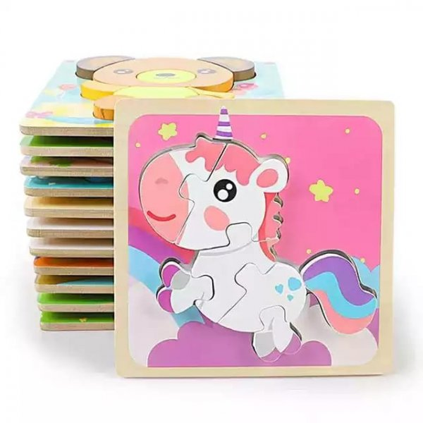 puzzle din lemn multicolor