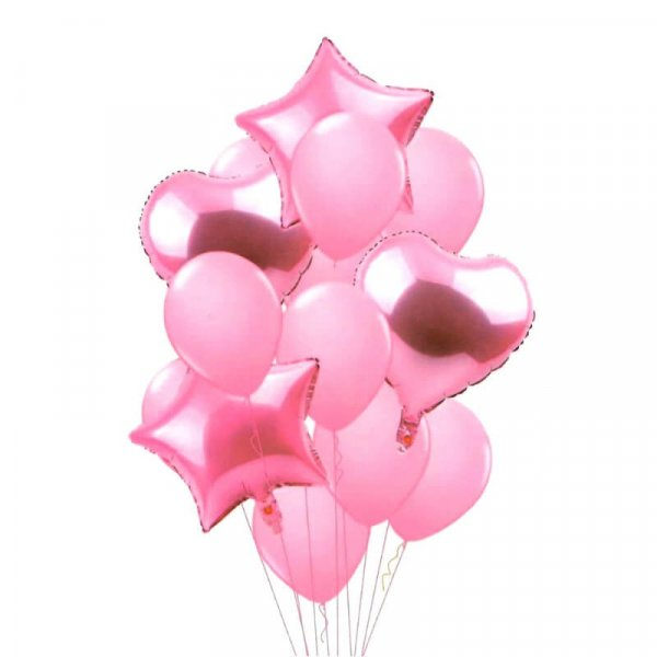 set 14 baloane din folie stelute si inimioare