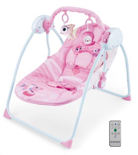balansoar bebe cu telecomanda roz 1